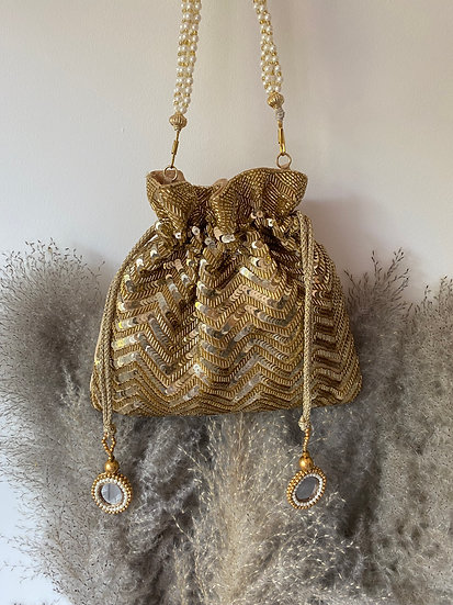 Gold Sequin Drawstring Potli/Pouch Bag