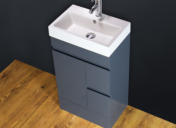 Vanity Unit Basin Sink Cabinet Stone Floor standing Grey Tap Waste