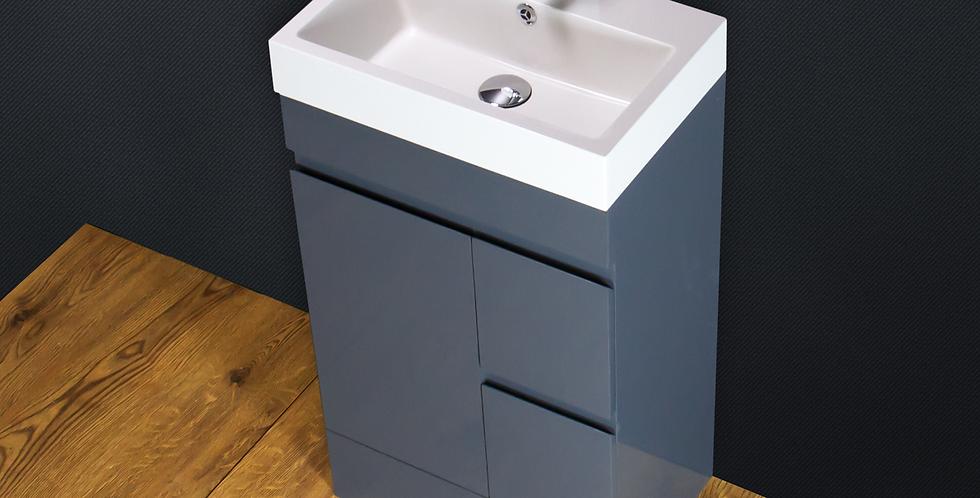 Vanity Unit Basin Sink Cabinet Stone Floor standing Grey Tap Waste