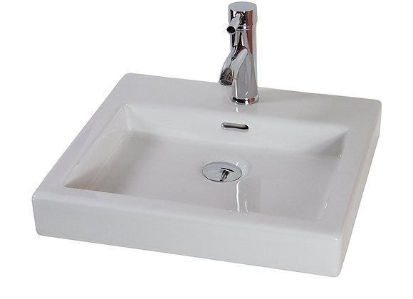 Basin Sink Bathroom Ceramic Countertop Cloakroom White Square