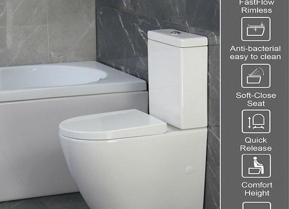 KLARA Toilet WC Close Coupled Bathroom Extra Height Disable Soft Close Seat