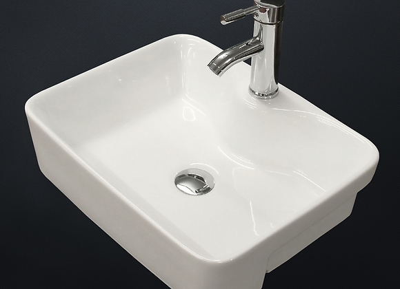 Basin Sink Semi Recessed Counter Top Cloakroom 500