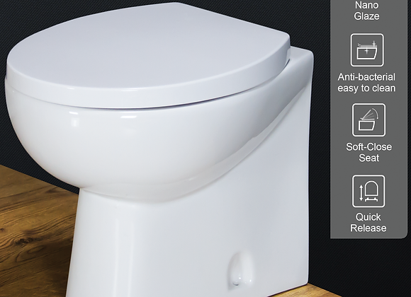 Toilet WC Back to Wall Bathroom Cloakroom Modern Ceramic Soft Close Seat