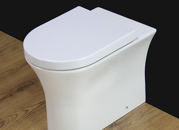Toilet Bathroom Back to Wall Rimless Comfort Height Soft Close Seat Cover