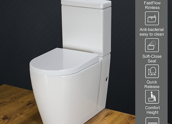 Toilet WC Close Coupled Cloakroom Comfort Height Soft Close Toilet Seat