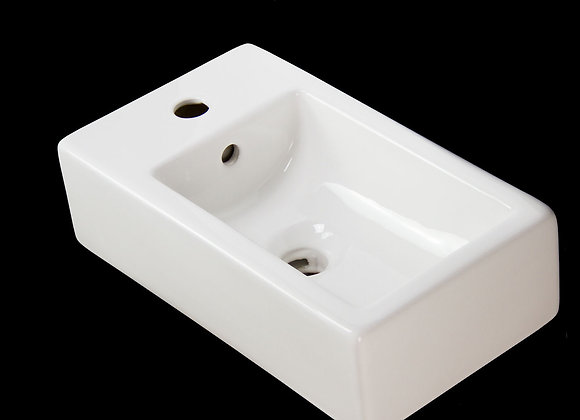 Basin Sink Bathroom Ceramic Square Wall Hung Right Bowl