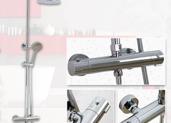Thermostatic Shower Mixer Twin Head Faucet Tap Large Set