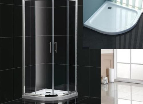 Shower Enclosure Quadrant Corner Walk in Doors Stone Tray 800, 900MM
