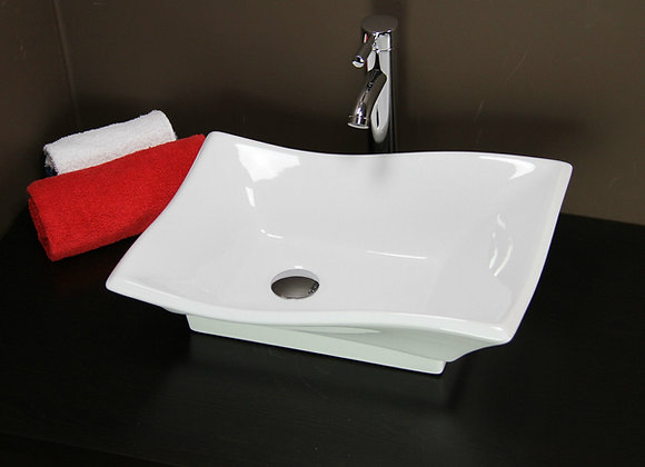 Basin Sink Bowl Ceramic Counter top Corner Tap Waste