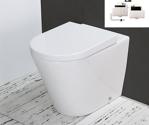 Toilet WC Back to Wall Concealed Cistern Round Bowl IN stock