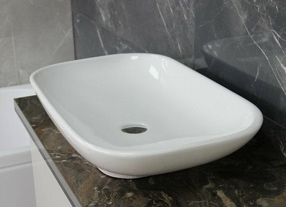 Basin Sink Bathroom Countertop Cloakroom Bowl large Rectangular Ceramic 650