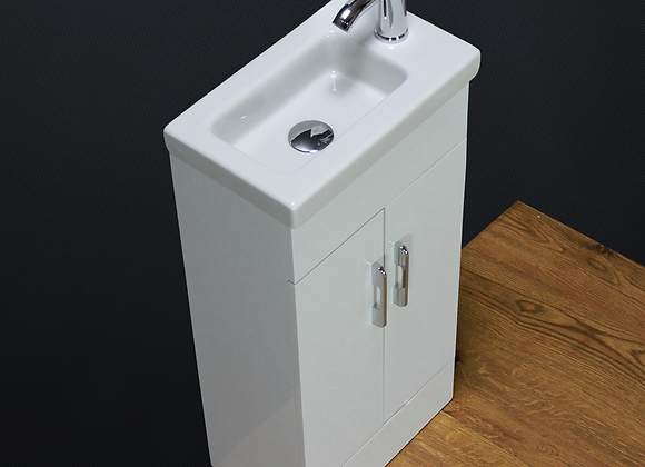 Vanity Unit Basin Sink Floor standing Cloakroom Square Tap Waste