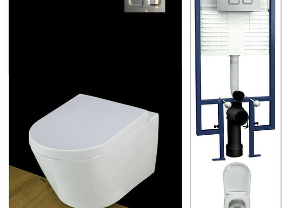 Toilet WC Wall Hung Mounted Concealed Frame and Flush Plate