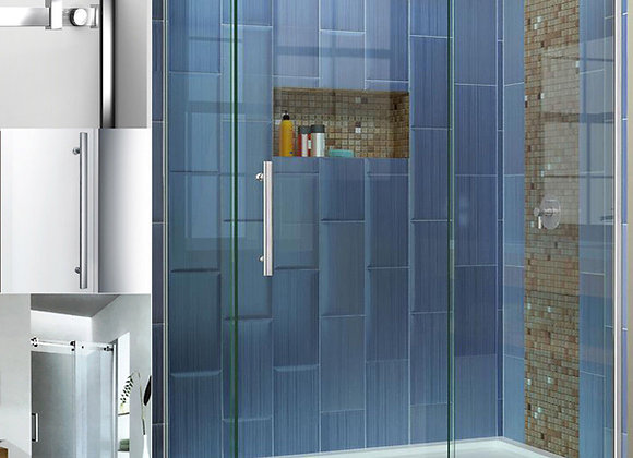 Shower Enclosure Walk in Wet Room Corner Frameless Sliding Doors