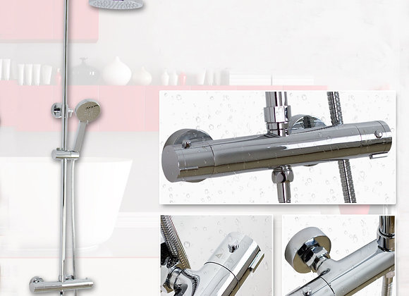 Thermostatic Shower Mixer Twin Head Tap Faucet Set