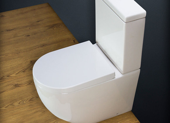 Toilet WC Close Coupled Rimless Seat Bathroom