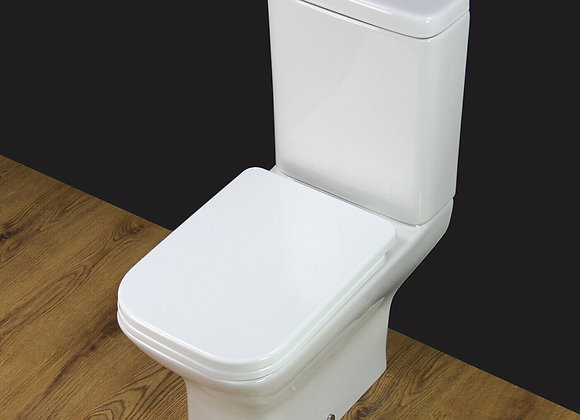 Toilet WC Close Coupled Cloakroom Extra Height Square Toilet Seat