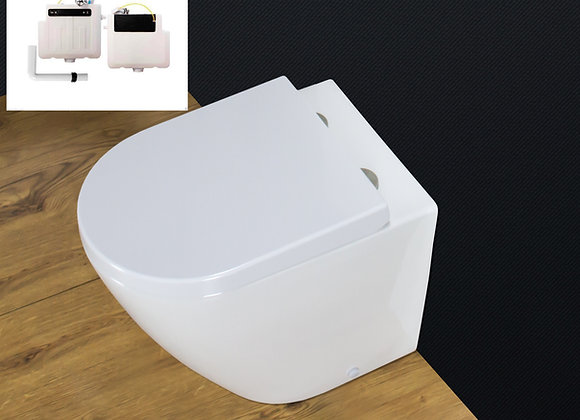 Toilet WC Back to Wall Bathroom Concealed Cistern Seat Cover