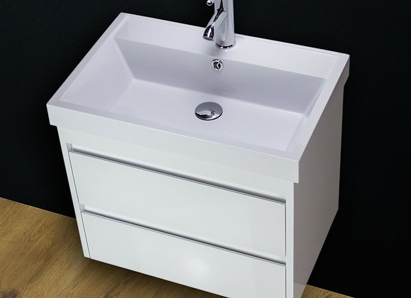 Vanity Unit Cabinet Basin Sink Wall Hung Mounted Resin Stone 600 mm