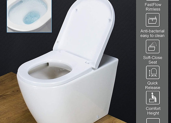 Toilet back to wall_rimless