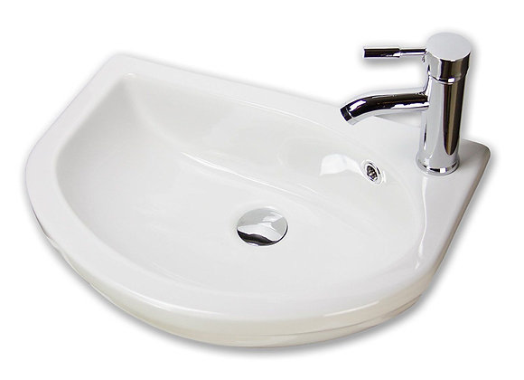 Basin Sink Bathroom Ceramic Countertop Semi Recessed