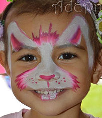 Bunny Face Paint. quick cute rabbit face painting Adorn Face Painting party faces