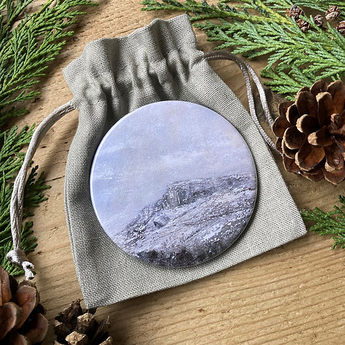 Snow on Ilkley Moor pocket mirror and pouch