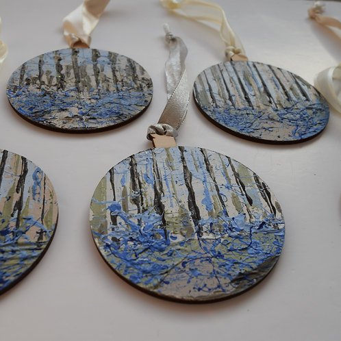 Hand-painted bluebell woodland decorations