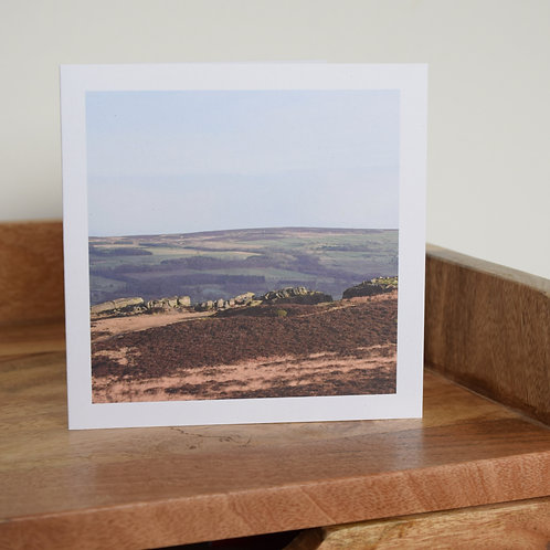 Greeting card - Behind the Cow and Calf Rocks, Ilkley Moor