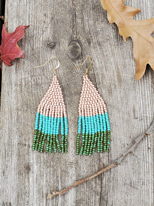 Copper & Turquoise Colour Block Earrings