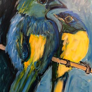 Tanager and Niltava_2019_40%22 x 30%22_acrylic on canvas.jpg