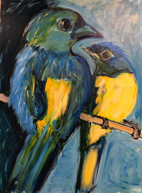 Tanager and Niltava_2019_40%22 x 30%22_acrylic on canvas.jpg