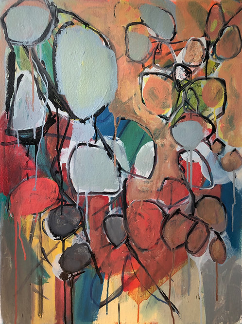 """Ring Around (2021), acrylic on 300 lb. archival watercolor paper, 30"""" x 22"""""""