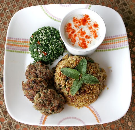 Frikke kebab tabbouleh at Earth Kitchen homestay farmstay