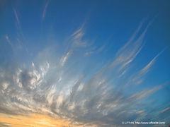 夕暮れ,雲,青空