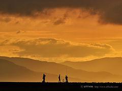 夕暮れ,釣り人,北海道,シルエット