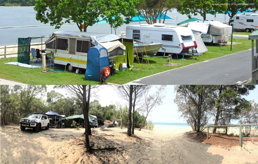 Caravans at Tallebudgera Creek Tourist Park; Camper Trailer & 4WD in the sand dunes at Moreton Island.