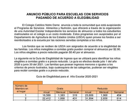 ANUNCIO PÚBLICO PARA ESCUELAS CON SERVICIOS PAGANDO DE ACUERDO A ELEGIBILIDAD - AEA
