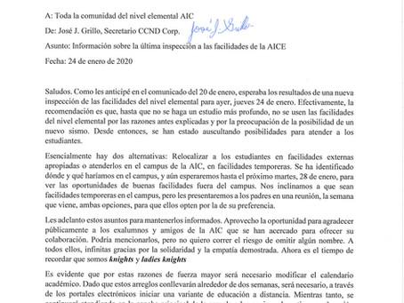 Información sobre la última inspección a las facilidades de la AICE