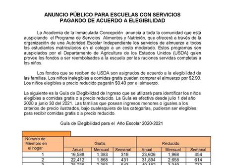 ANUNCIO PÚBLICO PARA ESCUELAS CON SERVICIOSPAGANDO DE ACUERDO A ELEGIBILIDAD - AEA