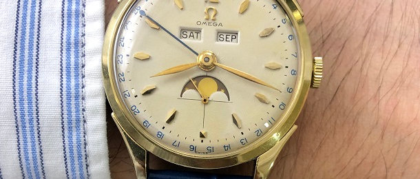 1951 OMEGA COSMIC MOONPHASE TRIPLE CALENDAR