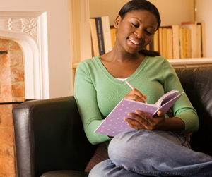 Woman journaling mindfully