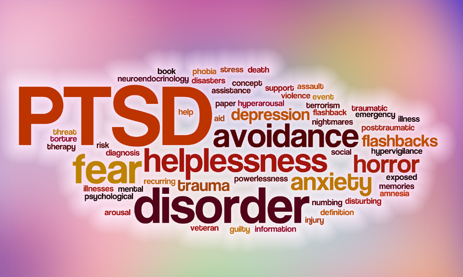 PTSD word cloud - helplessness, fear, disorder, avoidance, anxiety, depression, flashbacks