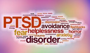 PTSD word cloud - helplessness, fear, disorder, avoidance, anxiety, depression, flashbacks