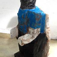 Blackbird. Wood, acrylic paint,130x50x40 cm.