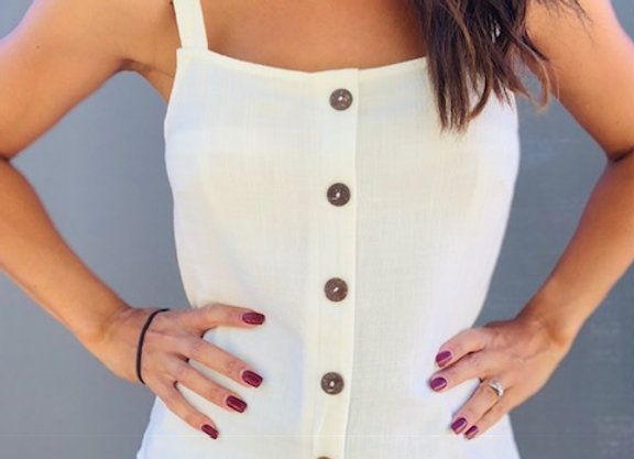 white linen top with straps