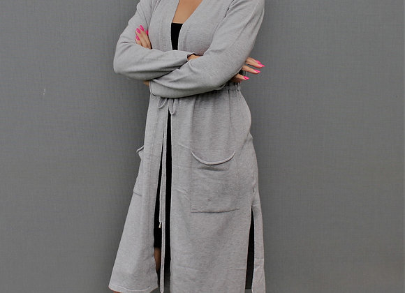 Long grey cardigan with string belt