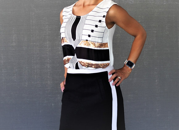 Black and white top with embellishments