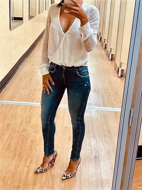 With high heels an a shirt