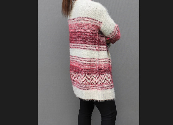 Open front cosy cream and burgundy cardigan